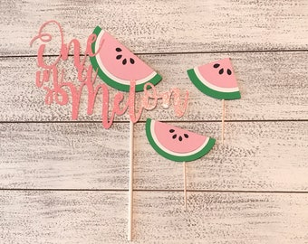 "Watermelon ""One in a Melon"" Cake Topper & 24 Cupcake Toppers • One in a Melon • Watermelon Party • Watermelon Party Decor"