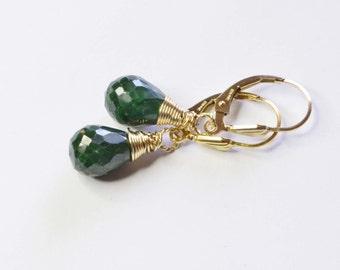 Genuine Emerald Earrings Wire Wrapped 14K Gold Fill, Dangle Earrings  Gemstone Wire Wrapped Teardrop