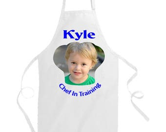 Personalised Child Apron. Kid's Aprons. Toddler aprons. Children's Aprons. Hand-printed Chef In Training Boys Apron. Little Boy Apron.