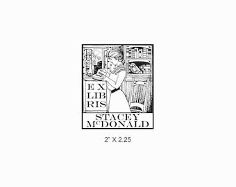 Antique Library Lady Reading Woman in Library Custom Ex Libris Bookplate Rubber Stamp  N26