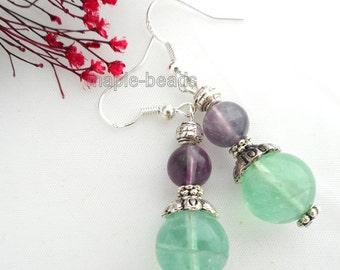 Green Purple Fluorite gemstone beads,  handmade Earrings