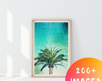 Abstract Palm Tree, Palm Leaf Print, Palm Tree Print, Palm Tree Wall Art, Tropical Print, Printable Art, Downloadable Print, Digital Prints
