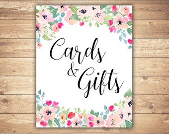 Cards and Gifts Printable wedding cards and gifts sign Floral cards and gifts sign Wedding decor Printable wedding sign Floral wedding sign