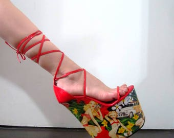 8 inch Handmade Red Hawaiian Pin up Lace Ankle Strap Wedge High Heel Platform Woman Stripper Shoes