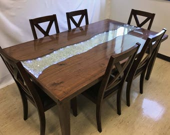 Starlight Glowing River Dining Table - Walnut