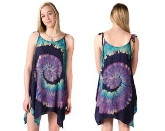 Tie-Dye Fairy-Cut Dress - Purple Blue Multi - 4475B