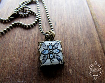 Mexican tile design necklace, pendant, charm, Mexican jewelry