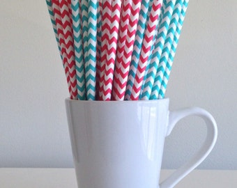 Red and Teal Paper Straws Aqua and Red Chevron Dr. Seuss Cat in the Hat Party Supplies Party Decor Bar Cart Cake Pop Sticks Graduation