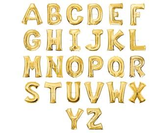 CUSTOM Letter Balloons   Mylar Gold Letter Balloons   Metallic Letter Balloons   Gold Party Decorations