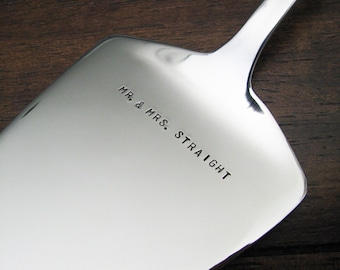 custom wedding cake server - personalize with your names, date