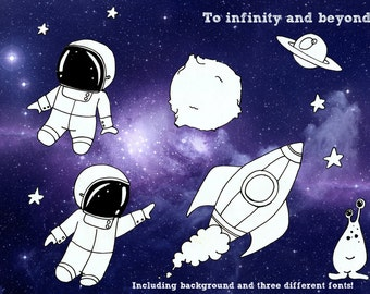 Galaxy clipart- Space Astronaut rocket kids birthday party invite