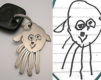 Your child's drawing on key chain for DAD, durable sentimental keychain, drawing on metal, titanium, artwork key fab - Formia Design