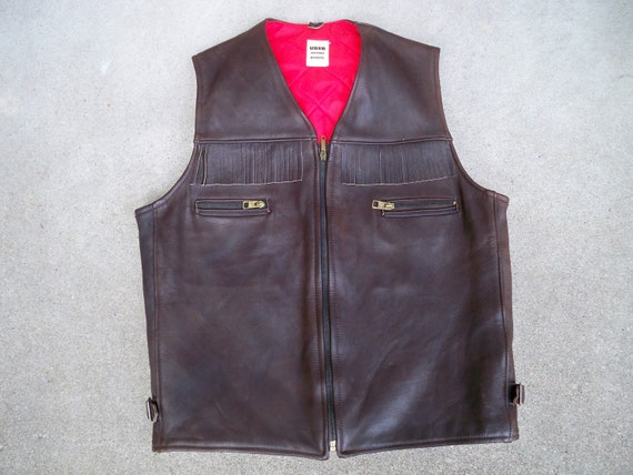 Uber Motorcycle Size Large USA Men's Chocolate Made Owatonna Leather in Chopper Vest Biker Brown Vintage wSAUHqU