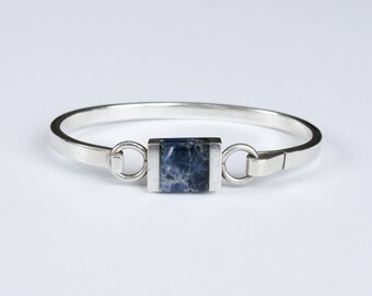 Taxco Sodalite Sterling Silver Bangle Bracelet  // Made in Mexico