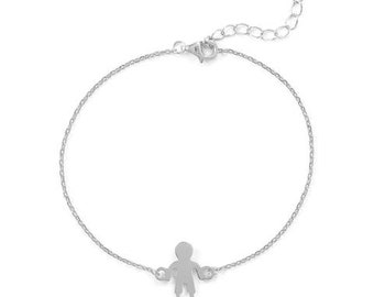 Rhodium Plated Boy  or Girl Bracelet, Birthday Gift, Mother's Day, Child's Birth