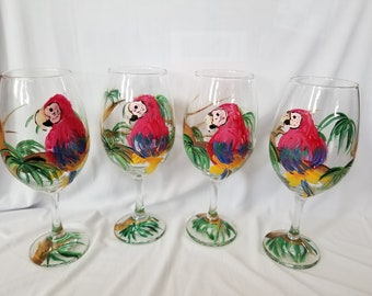 Scarlet Macaw Parrot & Jungle - Hand Painted Wine Glasses (Set of 4)
