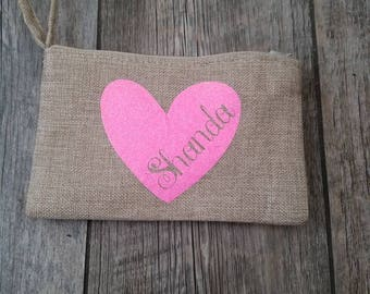 Cute burlap wristlet coin purse