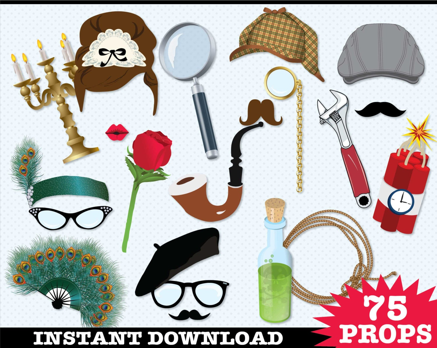 Detective Murder Mystery Photo Booth Props Clue Birthday