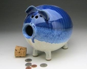 Large Ceramic Piggy Bank - White and Blue - In Stock and Ready to Ship!