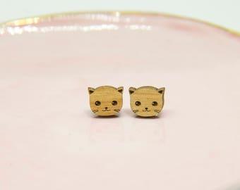 Wooden Cat Earrings - Stud Earrings - Wood - Lasercut - Cat Lover Earrings.