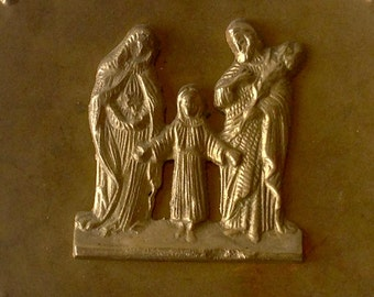 "Stunning 10"" Brass Plate Wall Plaque Religious Catholic St Mary Jesus God Laser Cut Holy Family"
