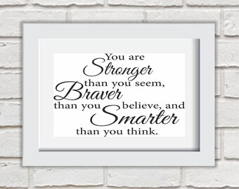 You Are Stronger Than You Seem Framed Quote Print Mounted Word Art Wall Art Decor Typography Inspirational Quote Home Gift