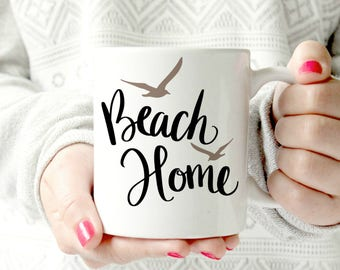 Beach home mug. house. Keep it simple. outdoorsy type mug . camping. Happy campers. Ceramic Mug - words. script. Coffee cup - outdoor mug