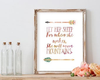Let Her Sleep for when She Wakes She Will Move Mountains, Nursery Decor, Nursery Wall Art, Nursery Prints, Baby Girl Nursery, Sister Gift
