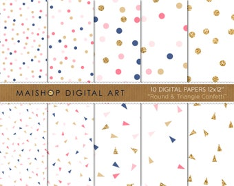 Seamless Digital Paper 'Round & Triangle Confetti' Blue, Pink and Gold Printable Papers for Scrapbook, Stationery, Invitations...