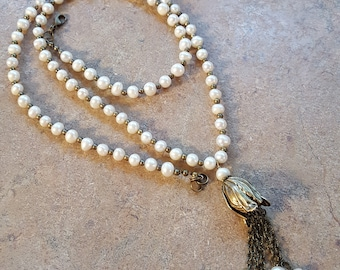 Antique brass and freshwater pearl tassel necklace handmade