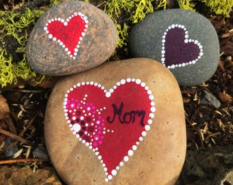 Mom Heart Mandala Painted Stone
