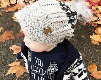 """Slouchy Toddler Toque with Visor (21""""/53 cm ) Knitted Hat   Winter Hat   Knit Beanie   Knit Hat   Toddler Hat   Knitted Toque   Fur Pom Pom"""