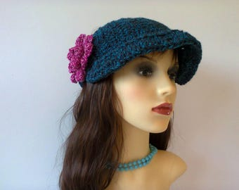Womans Crochet Hat, One size peak cap style beanie, Turquoise crochet beanie hat, Newsboy crochet hat with brim