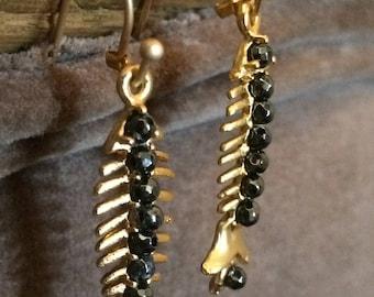Gold fish earrings dangle, Gold animal earrings dangle, Fish bone earrings, Animal bone earrings, Fish skeleton earrings, Gold fish earrings
