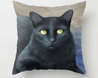 Throw Pillow Cushion Case Cover black Cat 621 blue light brown art painting by L.Dumas