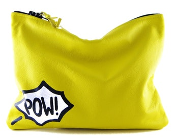BACK IN STOCK! Comic Leather Statement Clutch | Yellow Clutch | Pow Clutch | Cowhide Leather | Handbag | Handmade