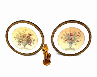 Antique Lithograph Botanical Set of 2 Framed Art Pair Round Gesso Frames Mirror Mat 1930s Floral Still Life