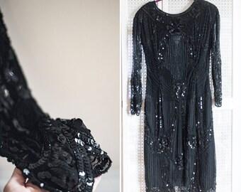 Vintage Sequins Long Sleeve Dress