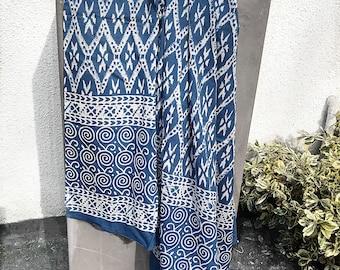 Indigo Beach Sarong - Indian block print sarong, batik sarong, Indian sarong, beach wedding, gift for women, gift for her