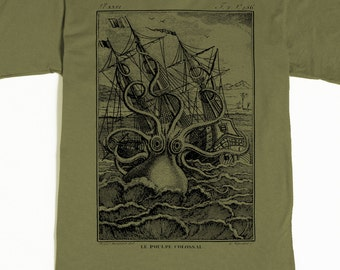 Octopus Shirt - Men's Octopus T-shirt - Kraken Tshirt - Pirate Graphic tee - Men's Graphic Tee