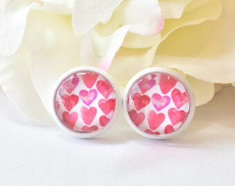 Red Heart Earrings,Heart Stud Earrings,Heart Earrings,Love Stud Earrings,Love Jewelry,Red Pink Earring,Glass Dome Cabochon Stud,Gift for Her