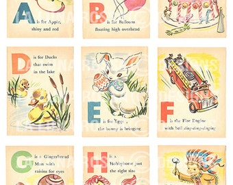 Baby's First ABC - Vintage Illustrated Childrens Alphabet Cards - Nursery - Clip Art - Digital Collage Sheet - Printable