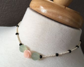 Darling pearl seed bead, green chalcedony, black spinel and resin rose choker