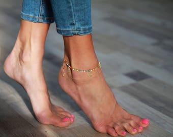 Hamsa anklet, boho anklet, charm anklet, colourful gem anklet