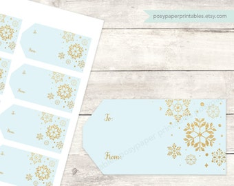 christmas gift tags printable DIY holiday gift tags favor tags favours blue gold glitter snowflakes digital - INSTANT DOWNLOAD