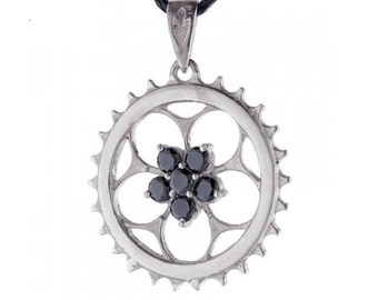 Sterling silver Sprocket pendant with stones