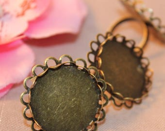 x 5 holders flower ring adjustable round bronze 25mm cabochon