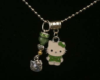 handmade kitty pendant necklace and charm
