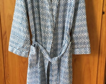 Lightweight cotton block printed dressing gown robe
