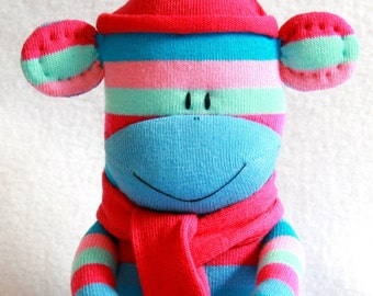 Sock Monkey Doll Pink and Blue Stripes, Sock Toy Baby, stuffed animal